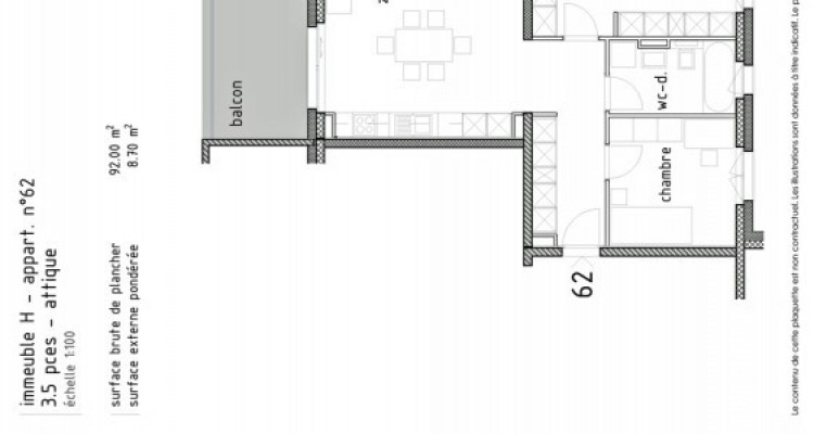 LOCATION VENTE - Attique neuf de 3,5 pièces avec balcon. image 5
