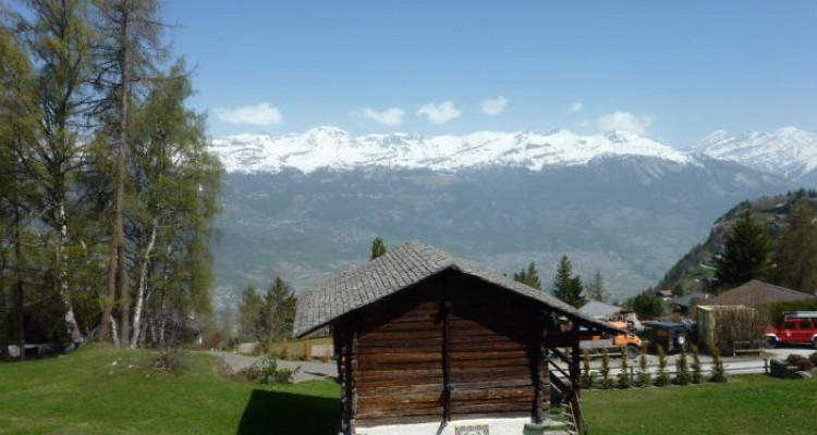 Situation : Magnifique chalet situé au lieu-dit Les Avouinsettes, excellent ensoleillement, vue imprenable sur les Alpes Bernoises et sur le village de Vercorin image 5