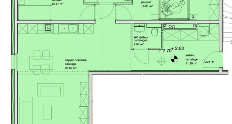Appartement neuf de 3,5 pièces avec balcons. image 6
