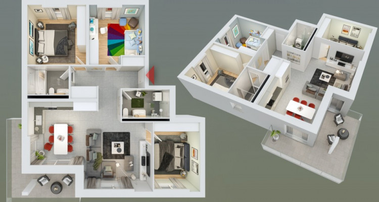 HOME SERVICE vous propose un ppartement de 4,5 pièces avec balcon. image 2