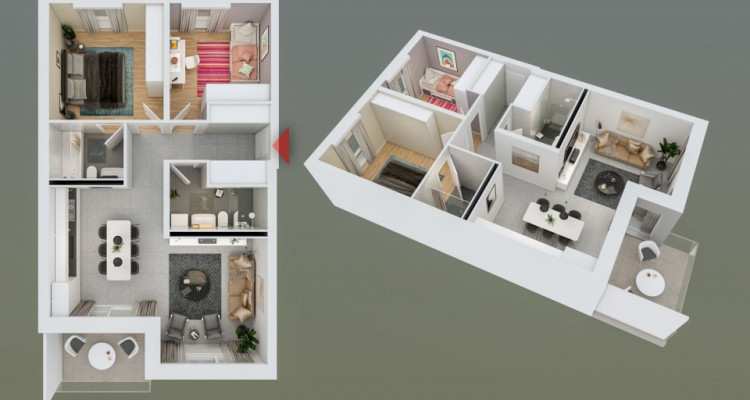 HOME SERVICE vous propose un appartement de 3,5 pièces avec balcon. image 2
